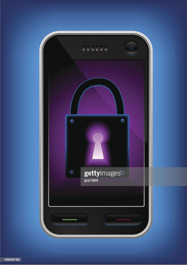 Mobile phone with a glowing lock on it's screen