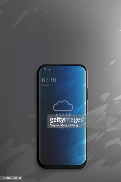 mobile phone with weather forecast app