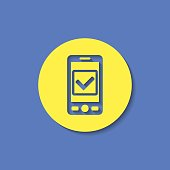 Mobile phone with checkmark symbol flat icon. Operation accepted vector illustration