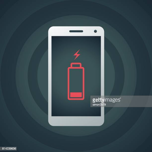 mobile phone with low battery - low stock illustrations