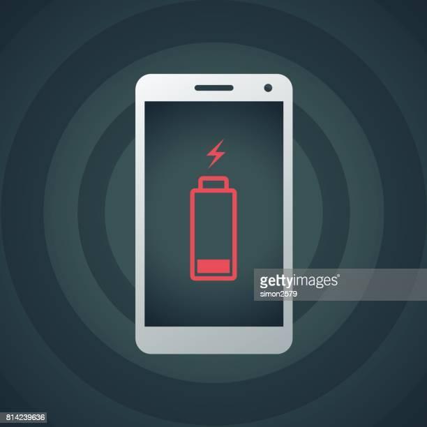 handy mit schwacher batterie - aufladen stock-grafiken, -clipart, -cartoons und -symbole