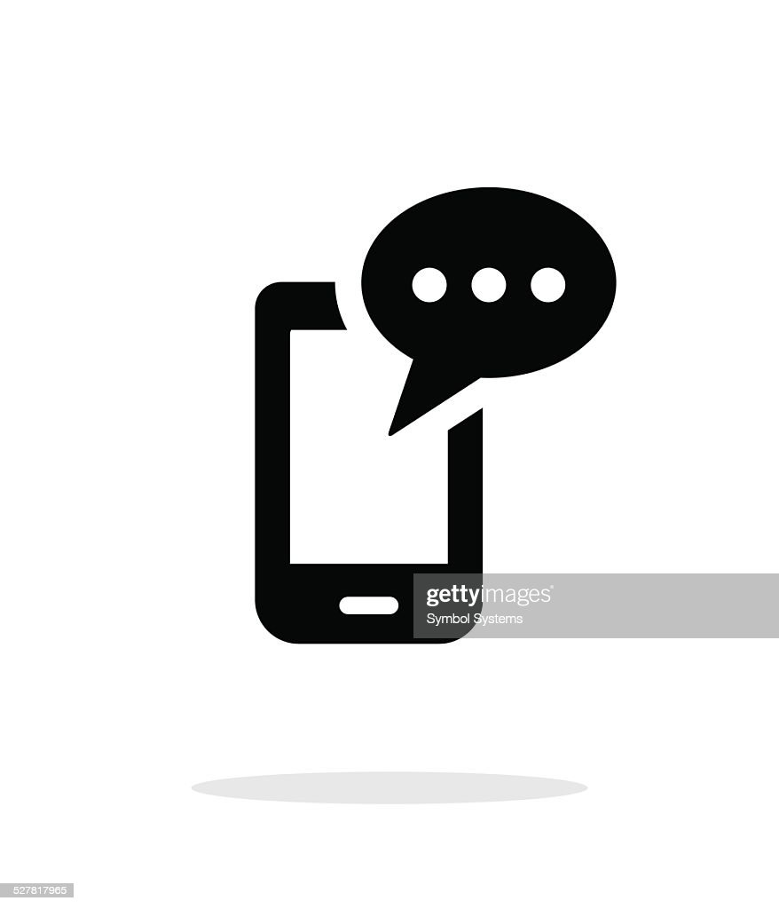 Mobile phone with message icon on white background.