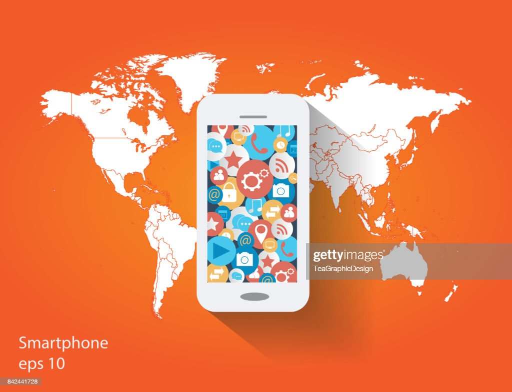 Mobile phone with social media icons and world map flat design mobile phone with social media icons and world map flat design vector art gumiabroncs Gallery