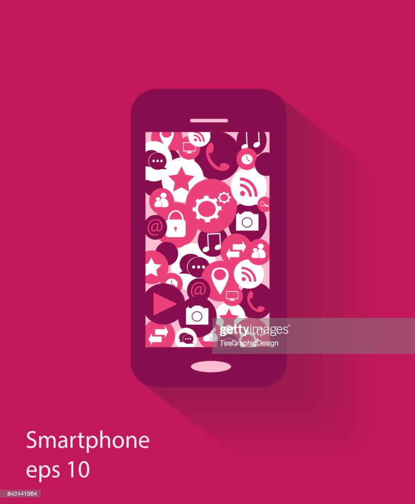 Mobile Phone With Social Media Icons Flat Design Pink Color High Res Vector Graphic Getty Images