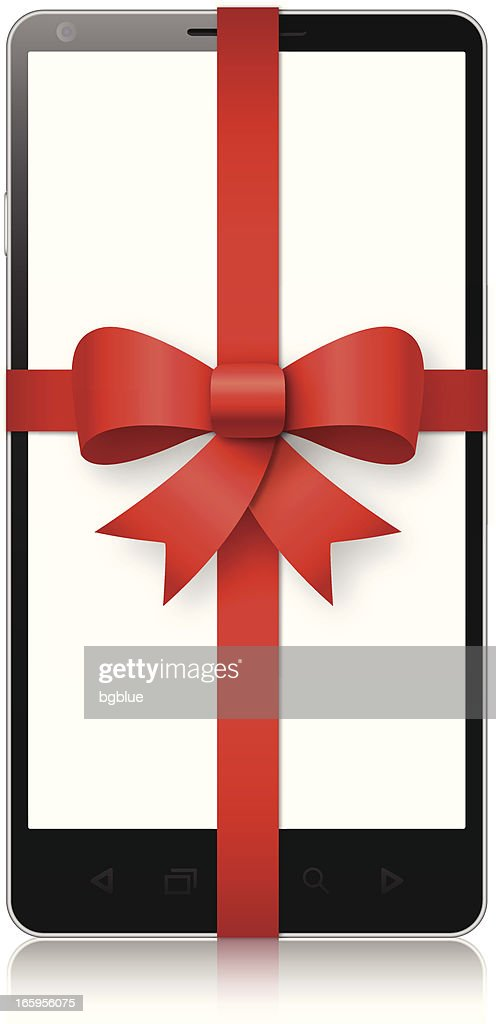 Mobile phone wrapped in a red bow