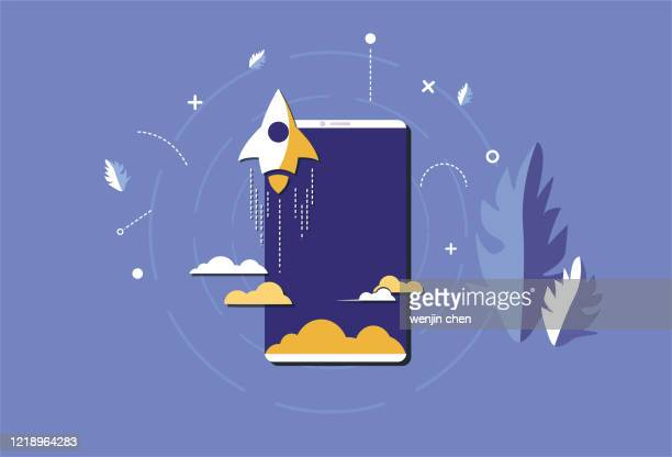 mobile phones and rockets, mobile phone systems - releasing stock illustrations