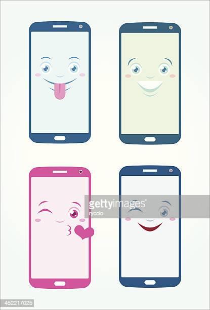 Mobile phones happy emoticons