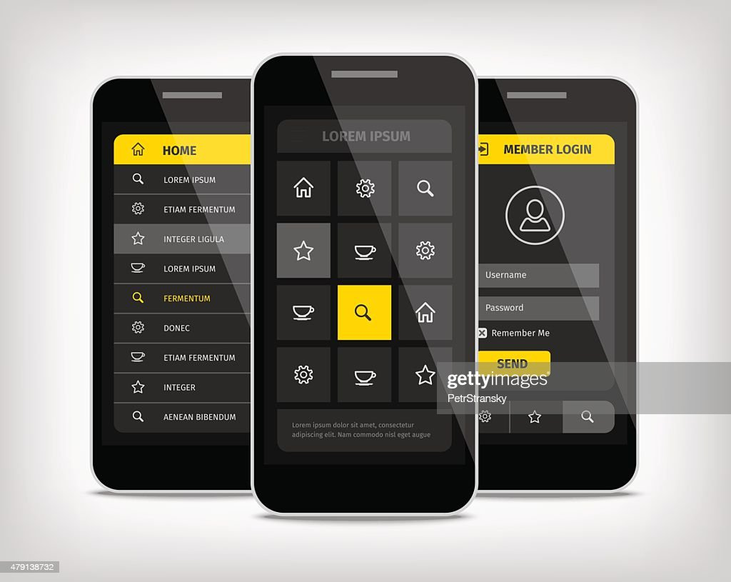 mobile phones ui yellow buttons