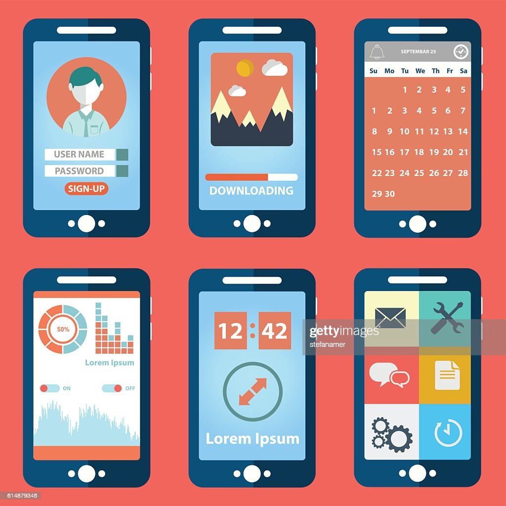 Mobile phones with different user interface elements.