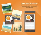 Mobile photography concept.   Different Photo with smartphone Isolated on orange background.