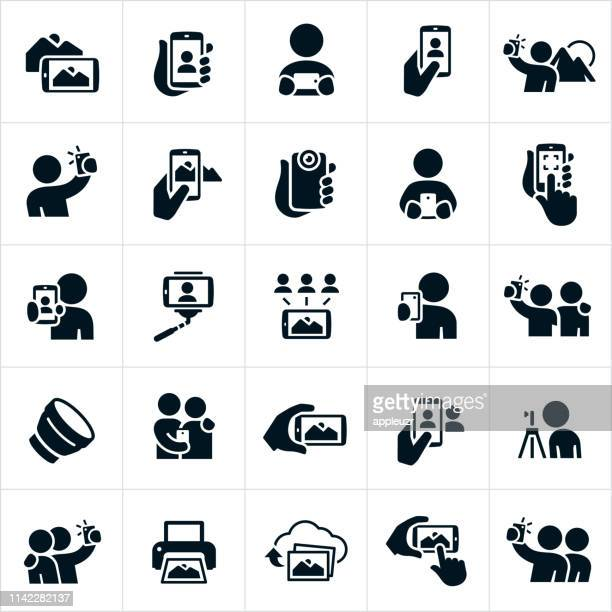 mobile photography icons - photo messaging stock illustrations