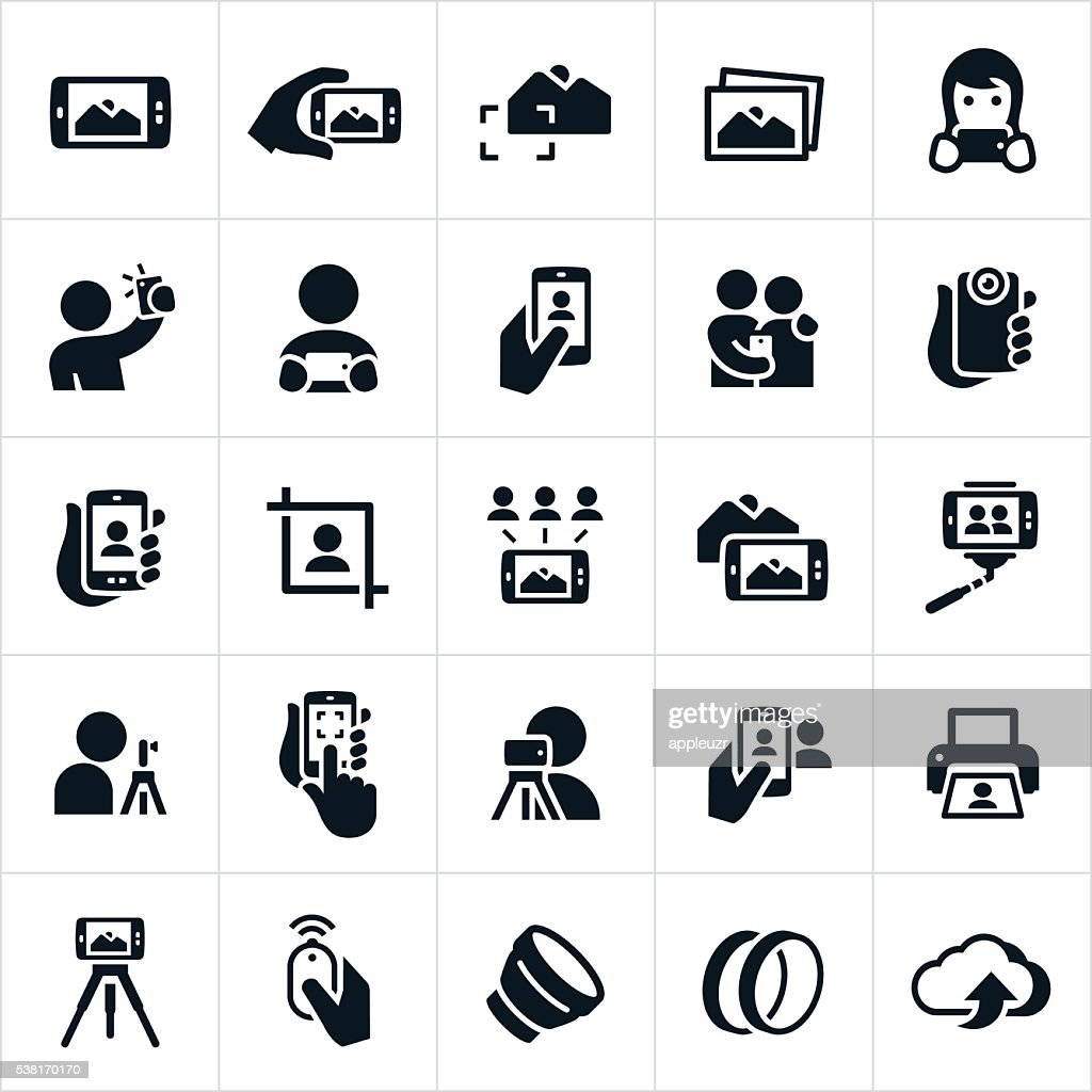 Mobile Photography Icons : stock illustration
