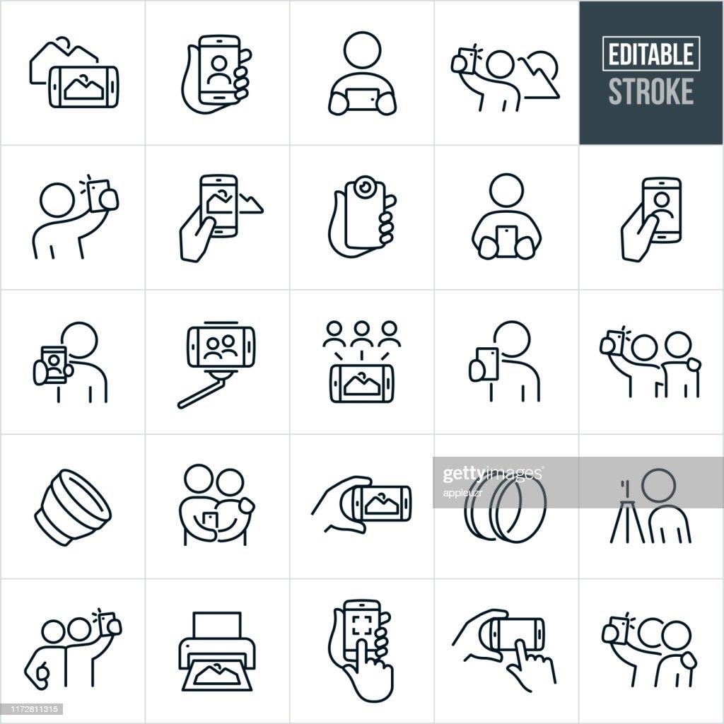 Fotografia mobile Icone a linea sottile - Tratto modificabile : Illustrazione stock