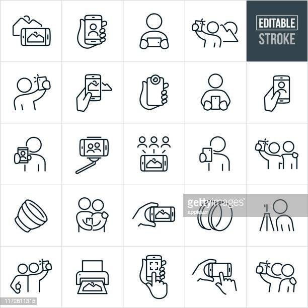 mobile photography thin line icons - editable stroke - photo messaging stock illustrations