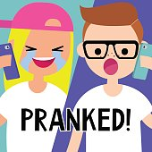 Mobile prank call. Pranker conceptual illustration. Flat editable vector, clip art