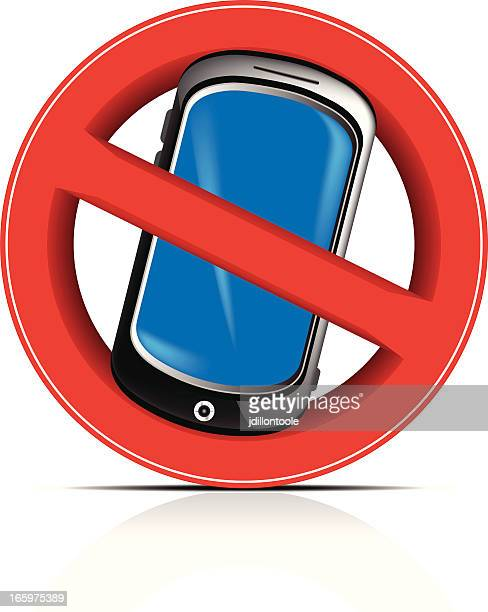 ilustrações de stock, clip art, desenhos animados e ícones de telemóvel proibida - proibido celular