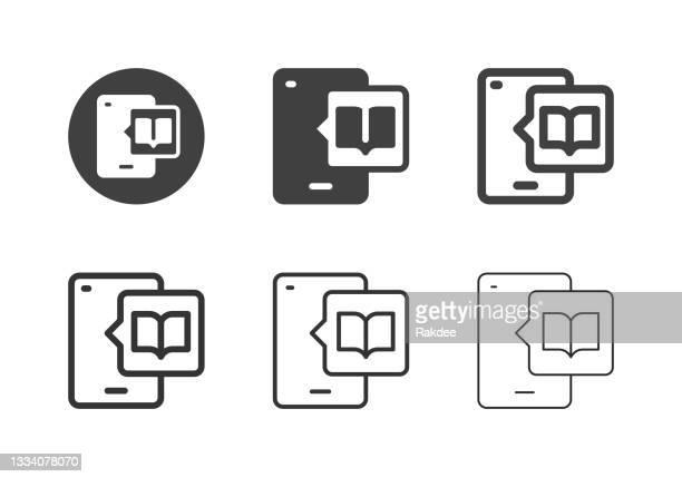 mobile lesesymbole - multi series - e book reader stock-grafiken, -clipart, -cartoons und -symbole