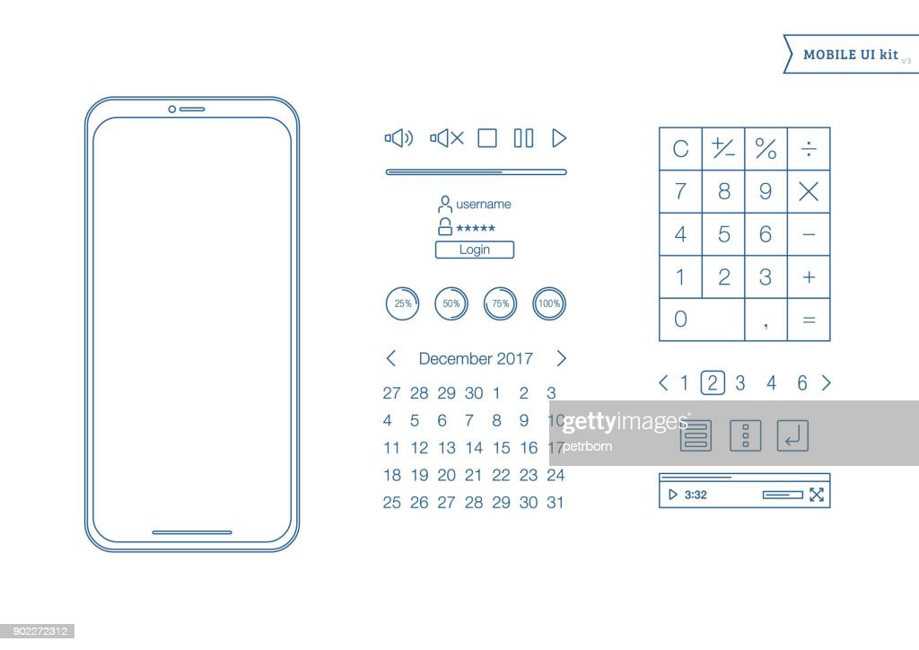 Mobile Screens User Interface Kit. Simple design UI. Template for mobile smartphone and mobile website. Calendar, calculator, login and password panel, video controls.