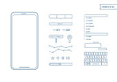 Mobile Screens User Interface Kit. Simple design UI. Template for mobile smartphone and mobile website. Contacts, keyboard, map point, mobile phone icon.