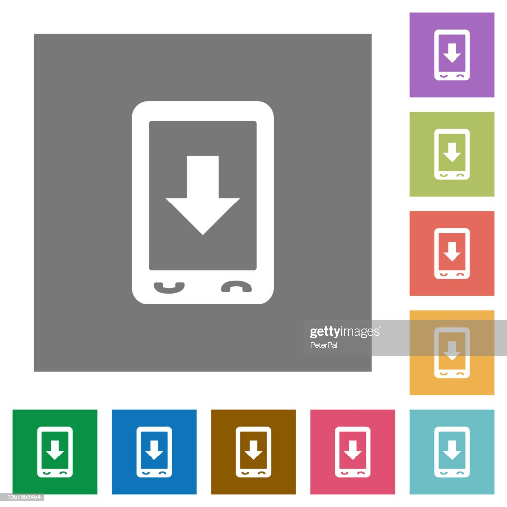 Mobile scroll down square flat icons