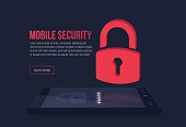 Mobile security, smartphone protection vector illustration