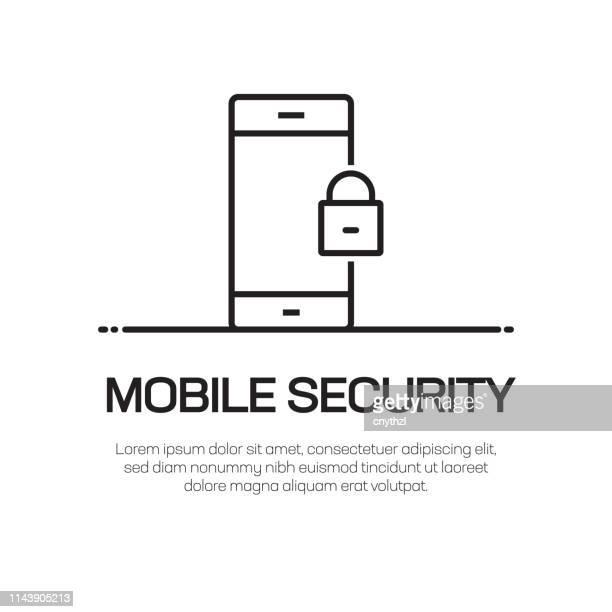 ilustrações, clipart, desenhos animados e ícones de ícone da linha do vetor da segurança móvel-ícone fino simples da linha, elemento superior do projeto da qualidade - mobile phone