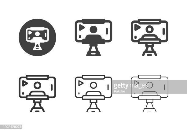 illustrazioni stock, clip art, cartoni animati e icone di tendenza di icone dei record selfie mobili - serie multi - studio di registrazione