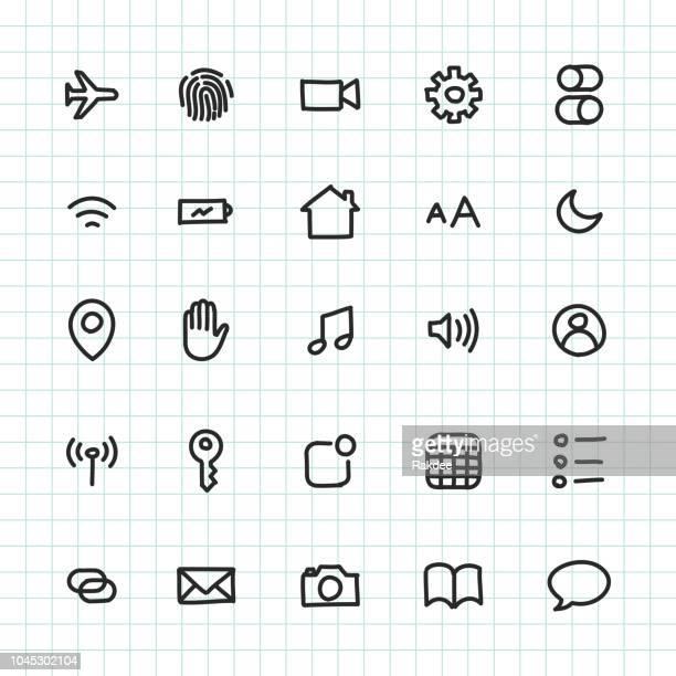 mobile setting icon - hand drawn series - fingerprint scanner stock illustrations