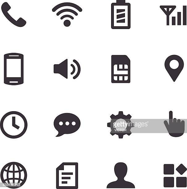 mobile setting icons - acme series - interactivity stock illustrations, clip art, cartoons, & icons