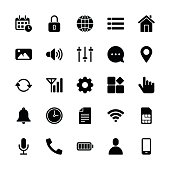 mobile setting icons regular glyph vector