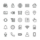 mobile setting icons regular line vector