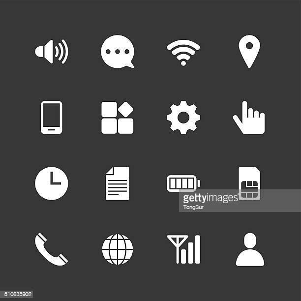 ilustrações, clipart, desenhos animados e ícones de configuração de celular ícones-normal branco série - arranjar
