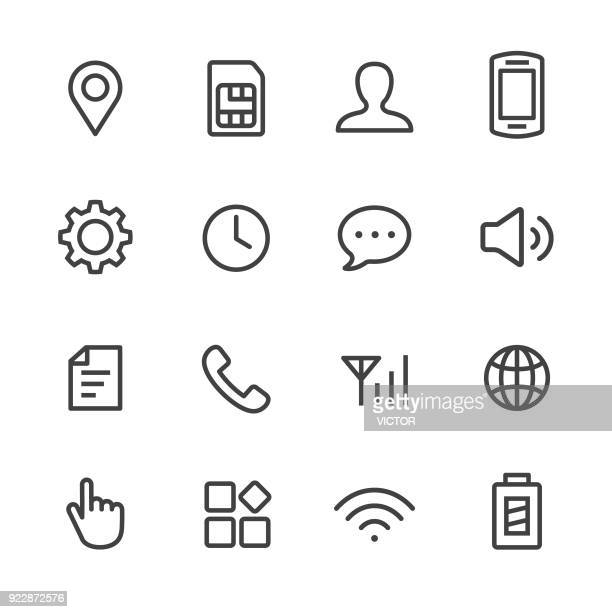 mobile setting icons set - line series - wireless technology stock illustrations