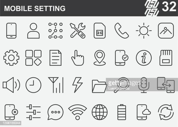 illustrazioni stock, clip art, cartoni animati e icone di tendenza di icone della linea di impostazione per dispositivi mobili - schermo tattile