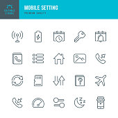 Mobile Setting - set of thin line vector icons