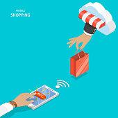 Mobile shopping flat vector concept.