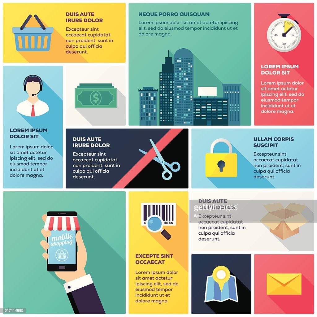 Mobile Shopping Infographic : stock illustration