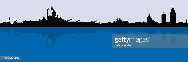 mobile skyline with battleship - alabama stock illustrations, clip art, cartoons, & icons