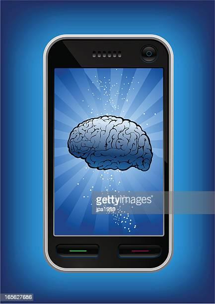 mobile smartphone mit köpfe, die schwimmende in der - electronic organizer stock-grafiken, -clipart, -cartoons und -symbole