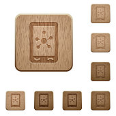 Mobile social networking wooden buttons
