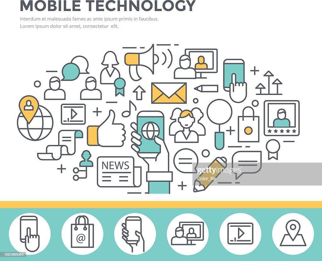 Mobile technology background, concept illustration.
