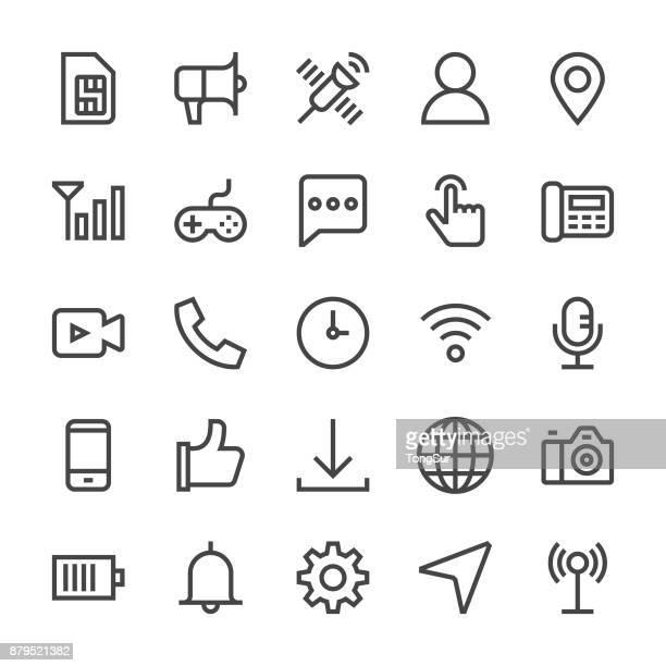 携帯電話アイコン - mediumx 線 - 発送書類入れ点のイラスト素材/クリップアート素材/マンガ素材/アイコン素材