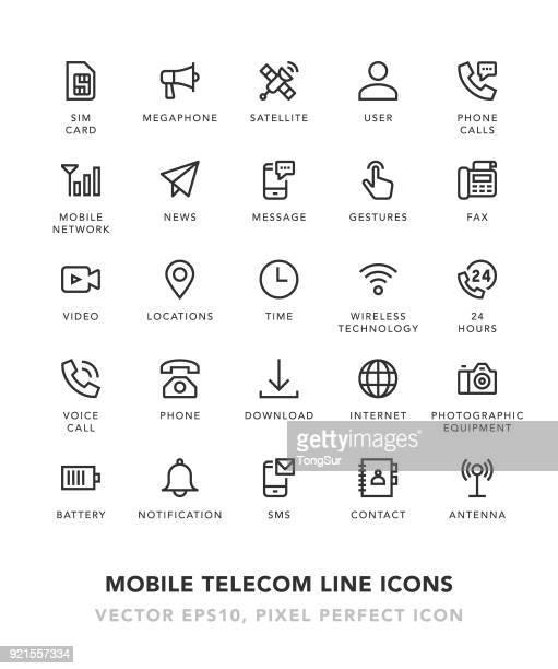 Mobile Telecom Line Icons