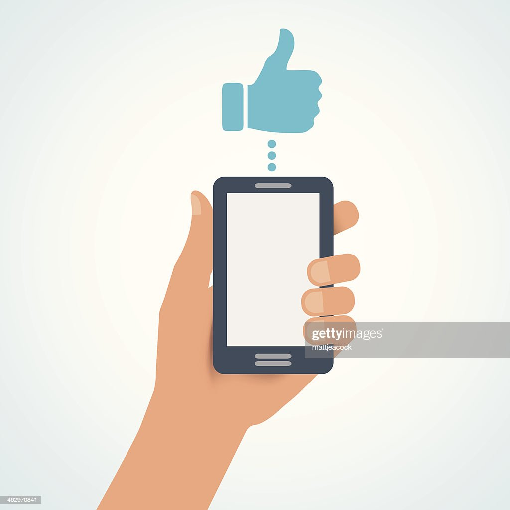 Mobile thumbs up : stock illustration