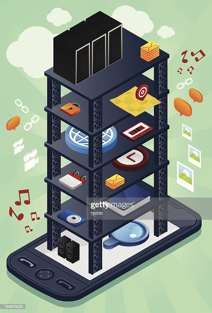 Mobile tower with icons and clouds
