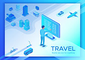 Mobile transportation online service landing page template, travel booking app concept with 3d isometric vector flat icons of smartphone, airplane, bus, electric scooter, man searching in internet