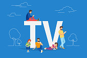 Mobile tv concept illustration of young people using smartphone for watching tv