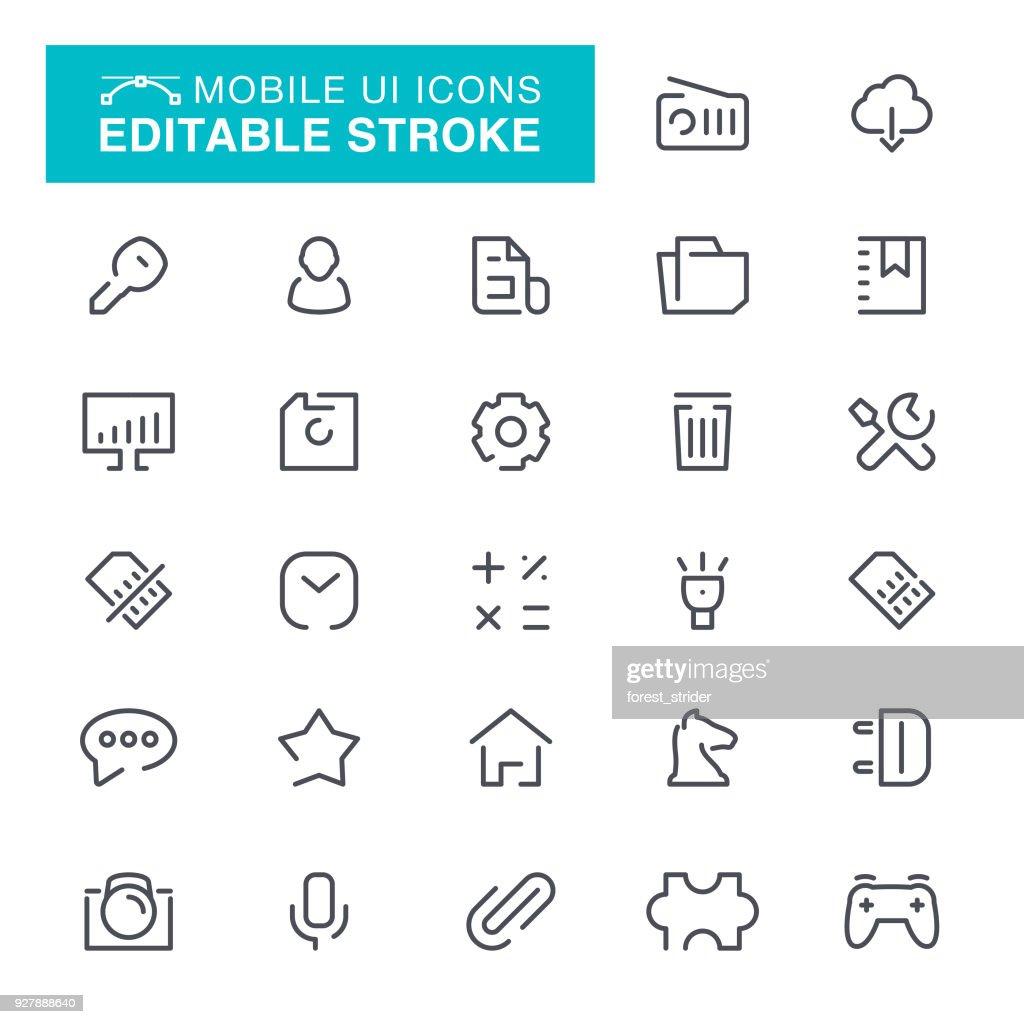モバイル UI 編集可能なストローク アイコン : ストックイラストレーション