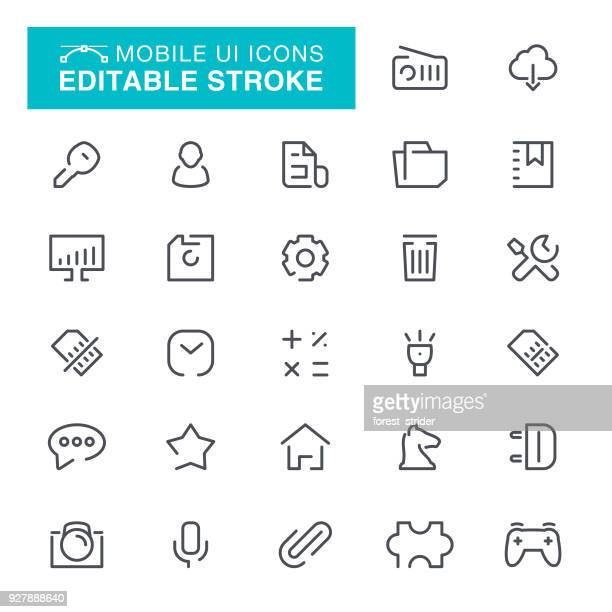 mobile ui editable stroke icons - webcam media apparaat stock illustrations