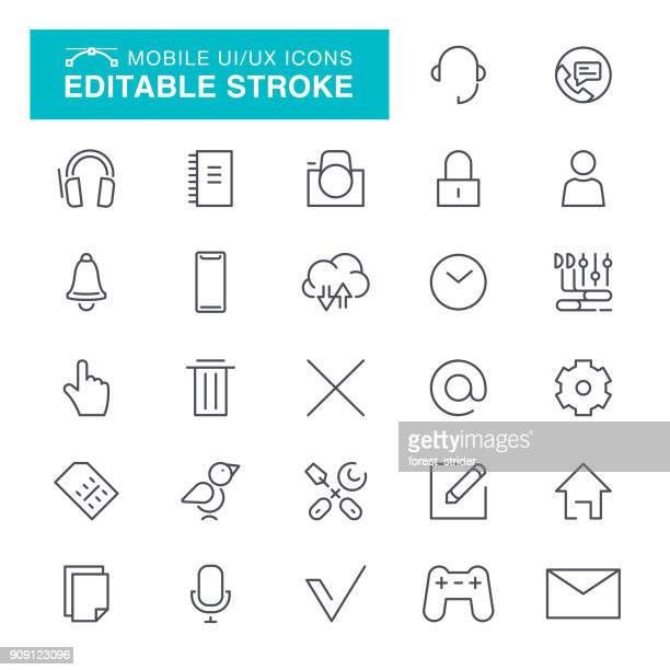 mobile ui ux icons editable stroke - cable stock illustrations, clip art, cartoons, & icons
